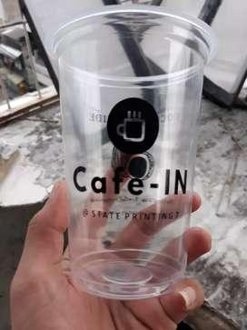 Sablon gelas plastik plus logo CUP PET 22oz