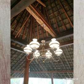 Lampu hias gantung antik eropa kuningan asli dekorasi lampu lawasan