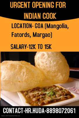 URGENT OPENING FOR INDIAN COOK AT GOA