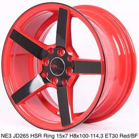 gudang velg NE3 JD265 HSR R15X7 H8X100-114,3 ET30 RED/BLACK FACE
