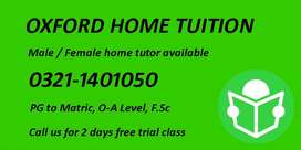Female / Male Home tutor for O/A Level, F.Sc, Pg to Matric