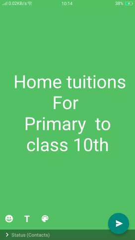 Female  home tuition teacher for  primary to 10th students