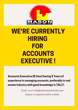 Accounts Executive required experienced in real estate/construction