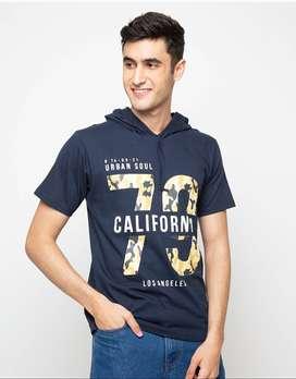 Kaos Hoodie lengan Pendek California - Navy Blue