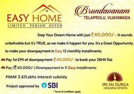 Book 2 BHK Flat in Gannavaram,Vijayawada,90% SBI (Loan facility)..