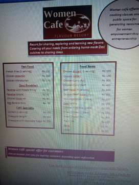Menu from women cafe