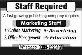 Online Marketing Job Vacancies Open for Males and Females