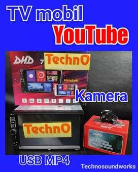 Tv USB MP4 YouTube + Kamera led double din tape for paket audio sound