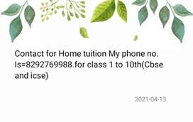 Contact for Home tuition.