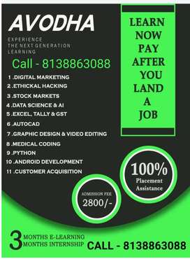 Learn Tally, Gst and excel Pay 75%after placement.