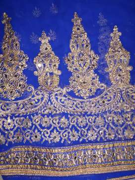 Royal Blue saree with rich embroidery