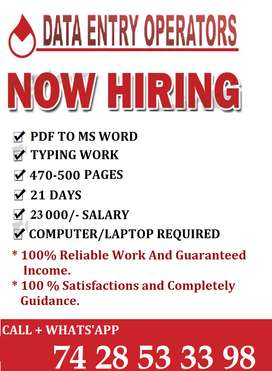 Typing Work !! Anywhere/Anytime !! Earn Superbe Income