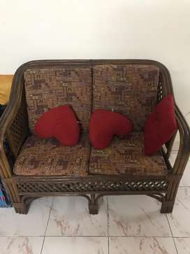 Cane Sofa Set 2+1+1 with Cushions and Centre Table