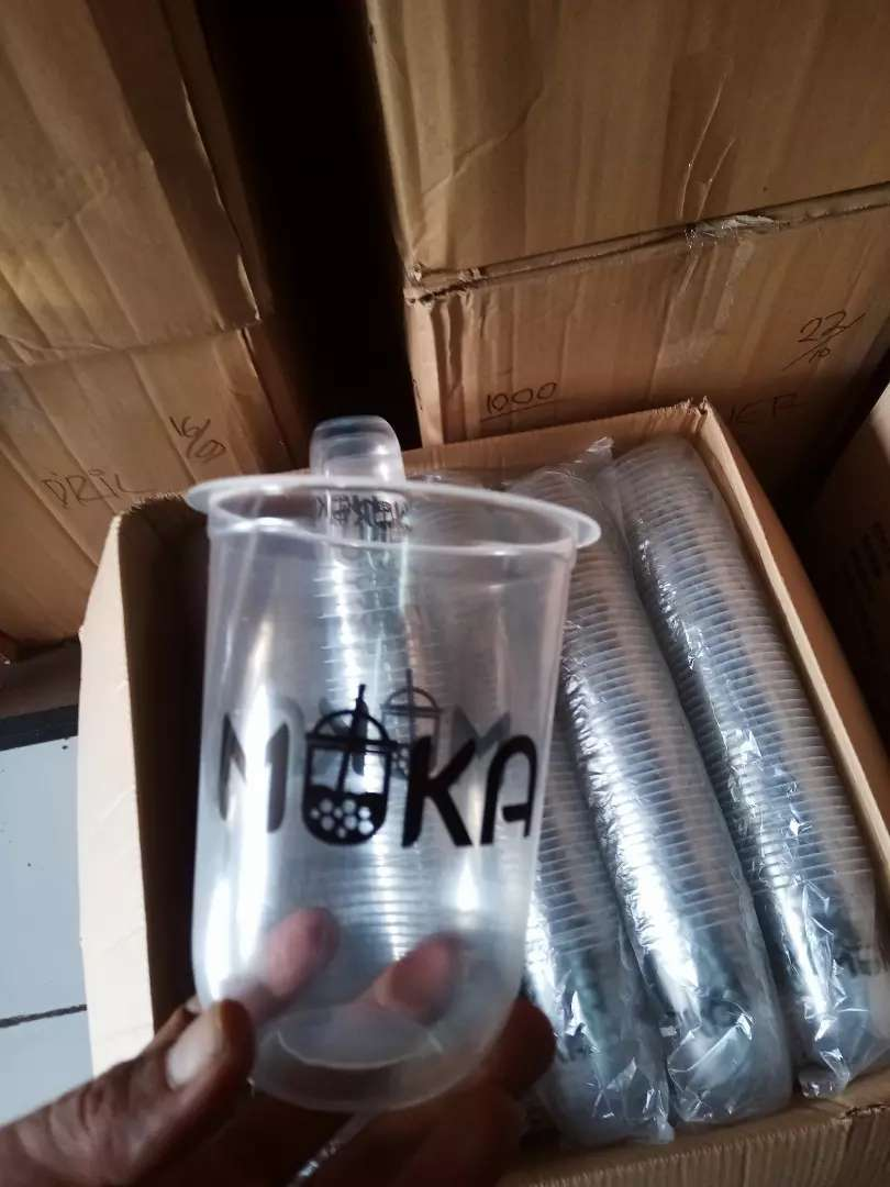 Gelas plastik dan cetak logo PP oval 16oz 0