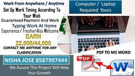 We are offering Typing Project DATA ENTRY PART TIME JOBS