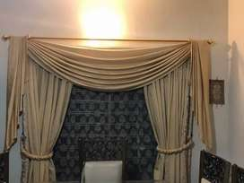 Beautifully designed 8 curtains with 4 pelmets and 8 belts.