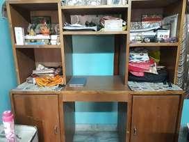 Wooden Computer shelf with doors