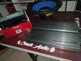 Single Pioneer USB,power Evo 4ch,&subwofer audiobank 12