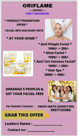 FACIAL ON 80% DISCOUNT RATE AT YOUR HOME