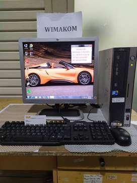 PC 1 set Fujitsu core 2 duo monitor 17inch bonus keymous WIFI