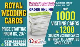 ONLINE PRINTING SERVICES, Visiting Cards, Wedding Cards, Letterheads..