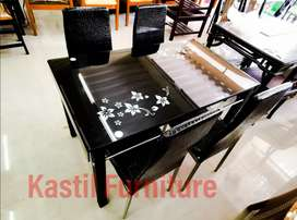 Meja makan kaca import lengkung elegant kaki besi stainless