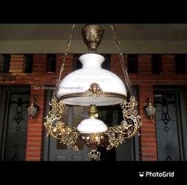Lampu gantung katrol single motif singa kerek betawi dekorasi klasik