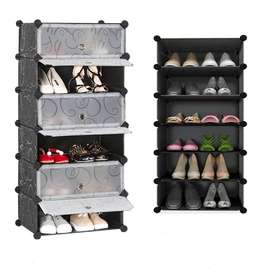 KHI-SR 6 Box Moveable/Folding Plastic Storage Rack & Shoe Rack