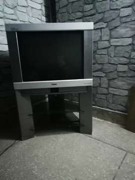 Haeir 28 inch Television with TV trolly.