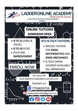 Online tuition for 8 to 12 and B. Tech
