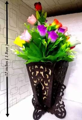 Stylish Wooden Vase with full of Flowers BIG.