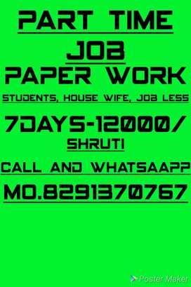 Home based job, par week salary 12000