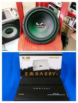 Plus pasang. Power Embassy 4channel + Subwoofer LM 12inch JJ
