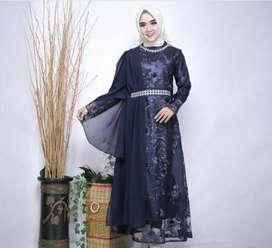 Dress brokat warna navy ukuran M LD 94cm PJ 134cm