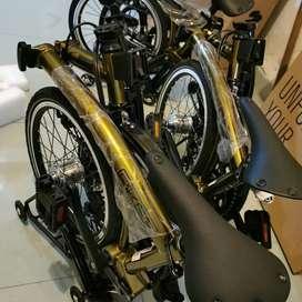 sepeda lipat folding bike trifold element pikes gen 2 goldie bnib