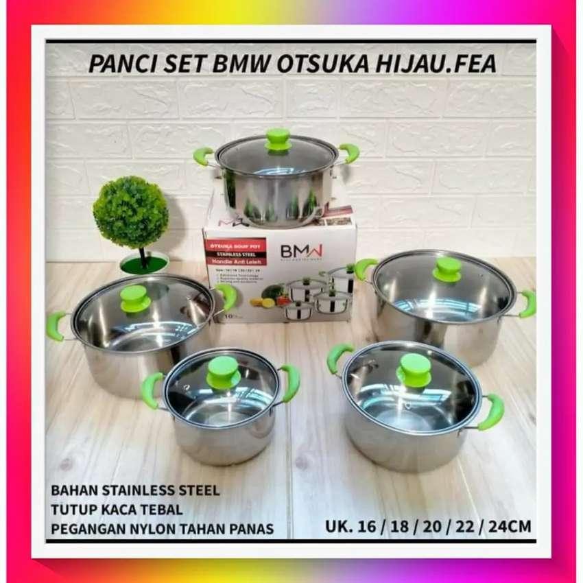 BMW Kitchen Ware - 1 Set Panci Soup Pot Otsuka Hijau Stainless Steel