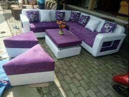 Erafurniture*sofa L new ARMANY ungu-putih+bantal+2 PUFF+MEJA
