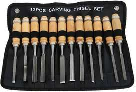 12 Pieces Different Shapes Wood Carving Chisels With Pouch