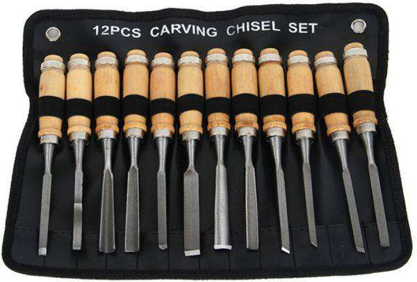 12 Pieces Different Shapes Wood Carving Chisels With Pouch 0