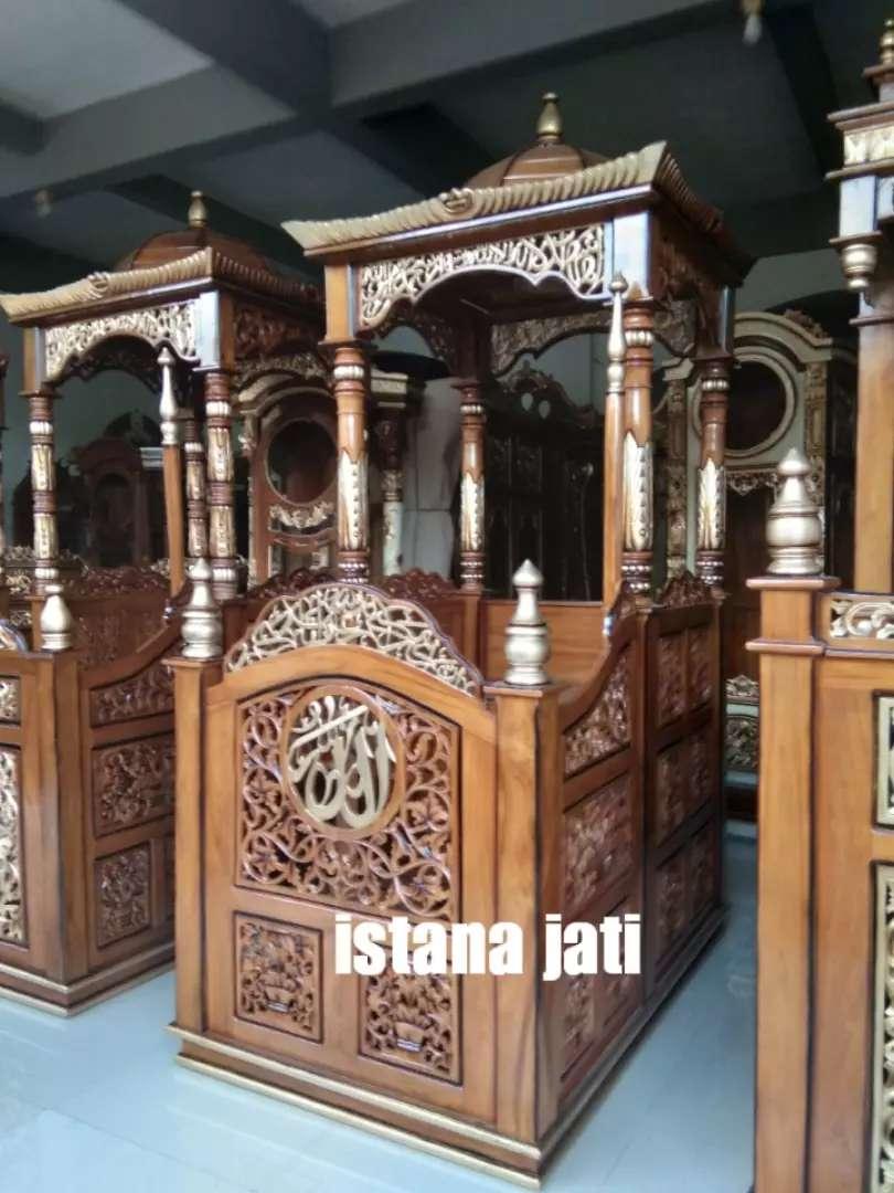 Mimbar masjid kubah kayu jati istana jati 0221c 0