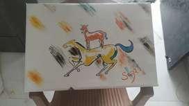 Canvas Painting rocking horse..majnu bhai