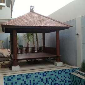 Saung Gazebo kolam renang 3x3m kayu kelapa freeongkir dan pasang