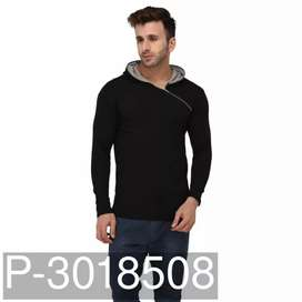 Men's Black Cotton Solid Hooded Tees we will send by courier only
