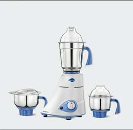 New - Preethi Blue Leaf Gold 750-Watt Mixer Grinder Mixie (White/Blue)