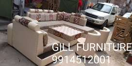 (Delivery  free Ludhiana  ) New L shape sofa 11 seat with table