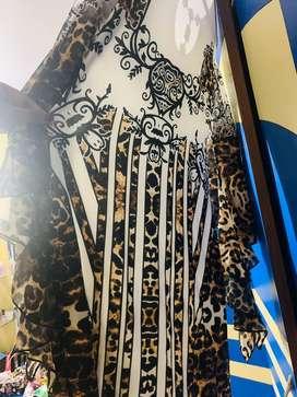 Midi Leopard print A-line dress stretchable