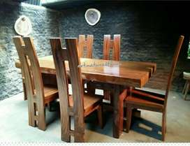 Meja makan kursi trembesi ready stock