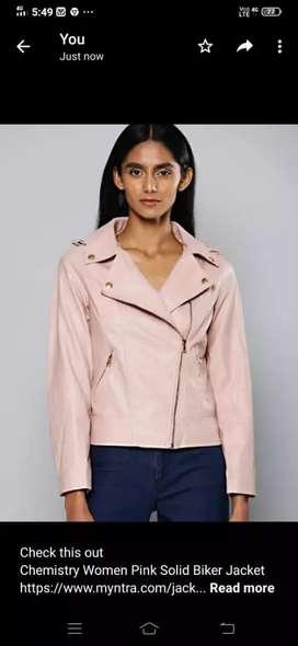 Chemistry women pink solid biker jacket