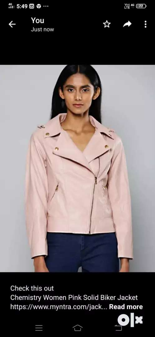 Chemistry women pink solid biker jacket 0