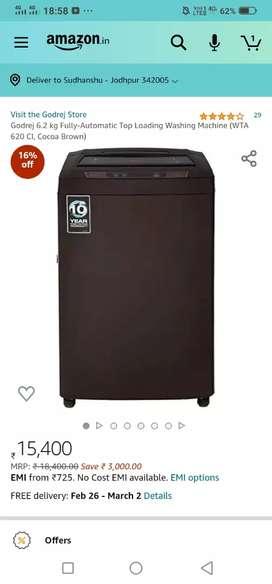 Godrej 6.2 kg fully automatic top loading washing machine
